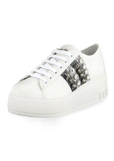Miu Miu Leather Platform Sneakers with Jeweled Stripes