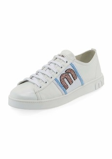 Miu Miu Leather Sneakers with Logo Patch