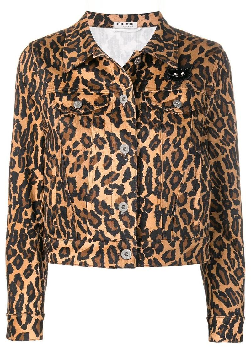 Miu Miu leopard denim jacket
