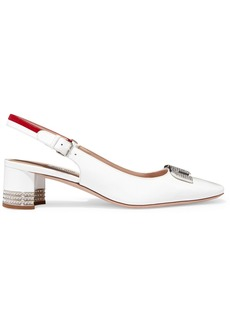 Miu Miu Logo-embellished Patent-leather Slingback Pumps