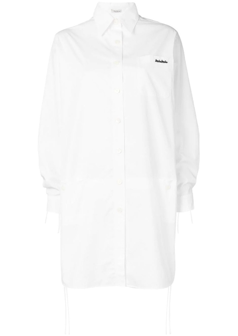 Miu Miu logo embroidered shirt dress
