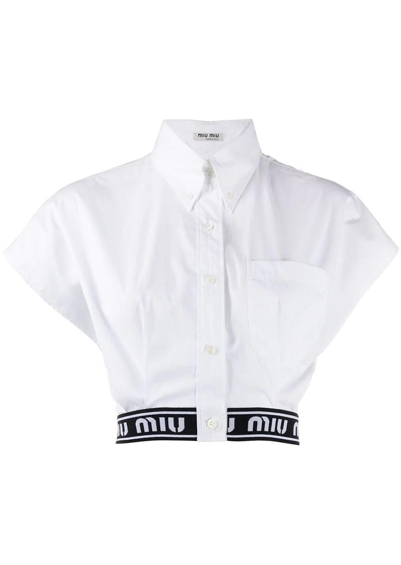 Miu Miu logo hem cropped shirt