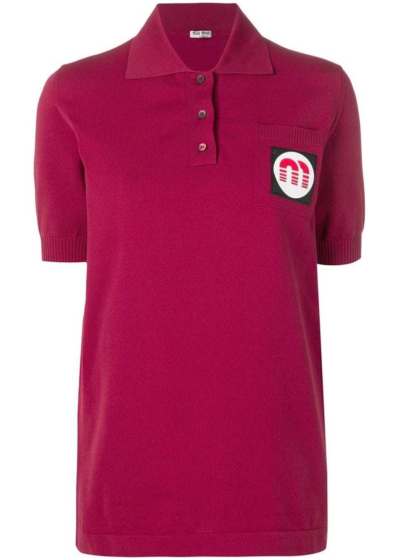 Miu Miu logo patch polo top