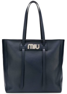 Miu Miu logo plaque shopper tote