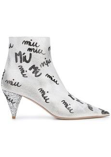 Miu Miu logo print boots