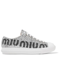 Miu Miu Logo-print Glittered Leather Sneakers