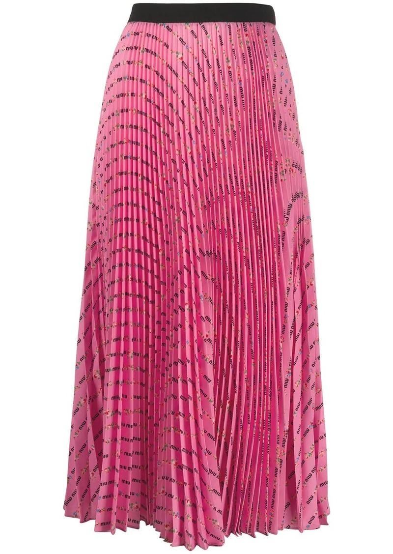 Miu Miu logo print pleated midi-skirt