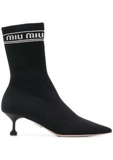 Miu Miu logo sock boots