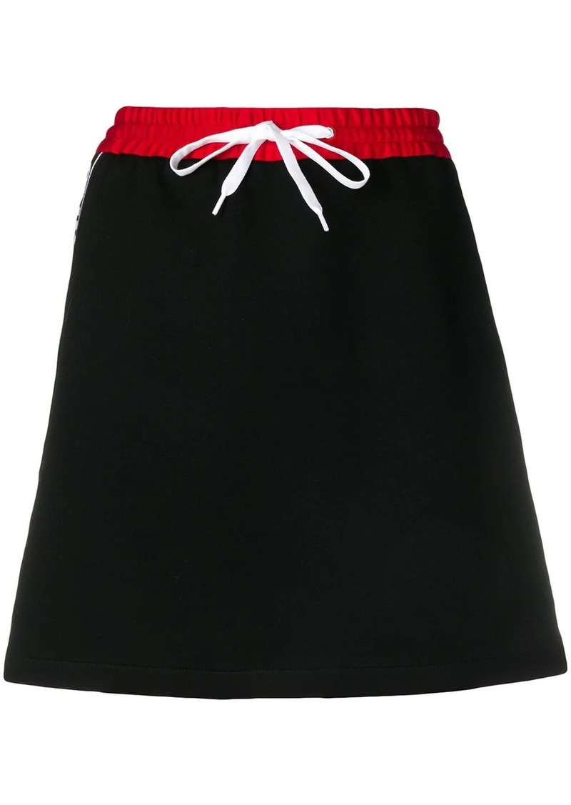 Miu Miu logo stripe mini skirt