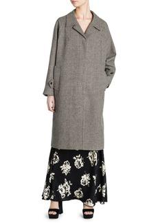 Miu Miu Long-Sleeve Wool Check Coat