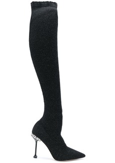 Miu Miu lurex ribbed knit boots