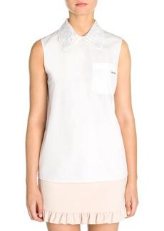 Miu Miu Macramé Star Collar Cotton Poplin Shirt