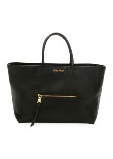 Miu Miu Madras Large Goatskin Leather Tote Bag