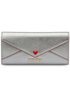 Miu Miu madras wallet with love logo