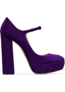 Miu Miu Mary Jane 135 platform suede pumps