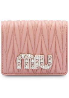 Miu Miu matelassé embellished logo wallet