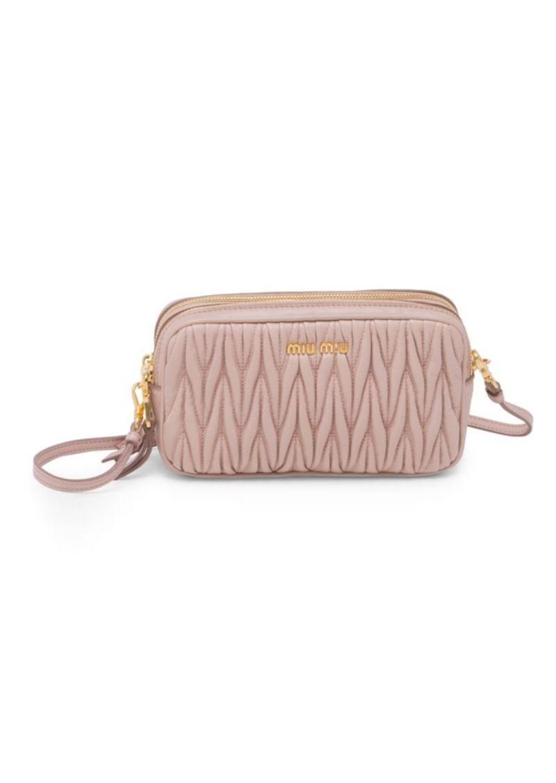 c55ee0698d0dd Miu Miu Matelasse Leather Double-Zip Crossbody Bag