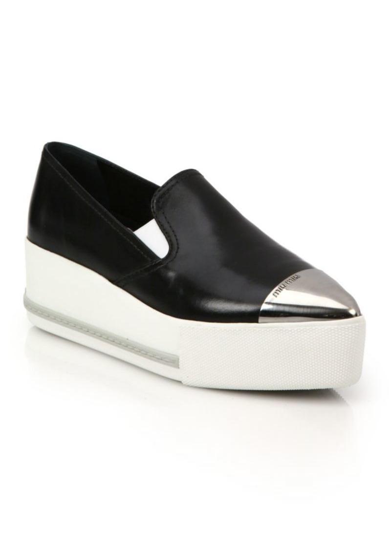 4d54f7e0e522 Miu Miu Metallic Cap-Toe Leather Platform Skate Sneakers | Shoes