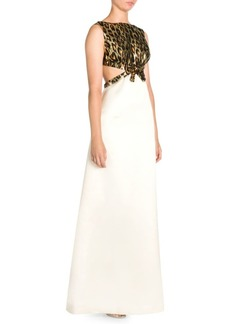 Miu Miu Metallic Leopard Cutout Gown