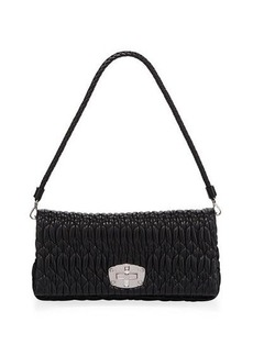 Miu Miu Metallic Matelasse Leather Medium Shoulder Bag w/ Crystal Lock