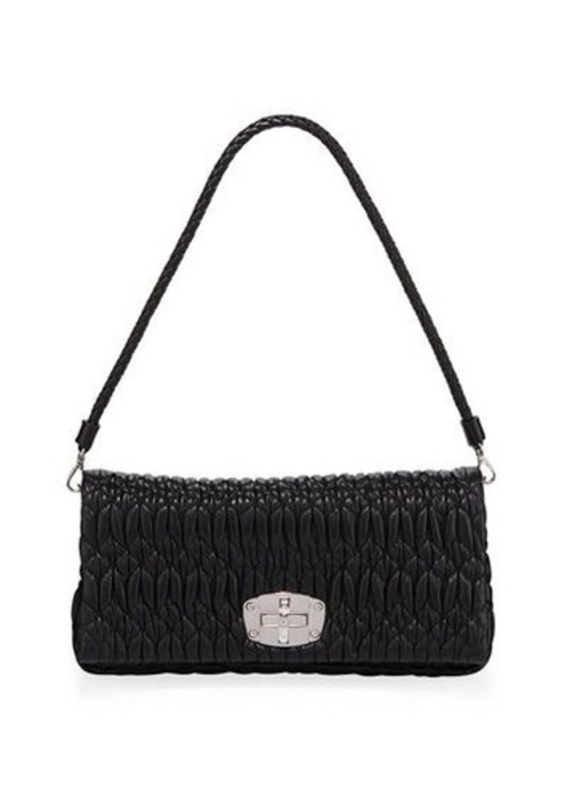 a2c3942ad1fa Miu Miu Metallic Matelasse Leather Medium Shoulder Bag w  Crystal Lock