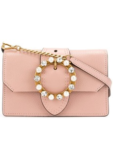 Miu Miu Mini Pink Leather Crystal Buckle Miu Lady bag