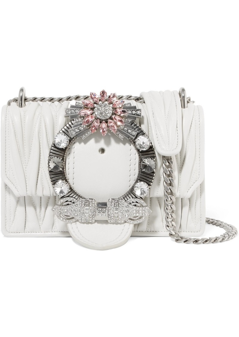 f1963401f14 Miu Miu Miu Lady Crystal-embellished Matelassé Leather Shoulder Bag ...