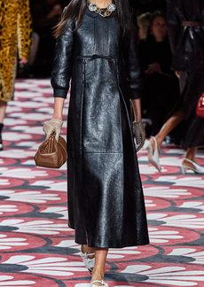 Miu Miu - Women's Bibbed Leather Midi Dress - Black - Moda Operandi