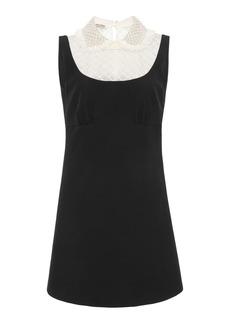 Miu Miu - Women's Embellished Organza-Detailed Cady Mini Dress - Black - Moda Operandi