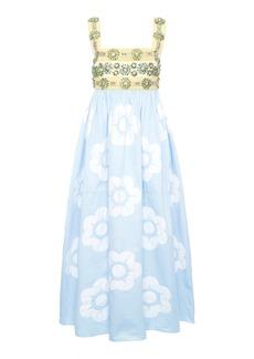 Miu Miu - Women's Floral-Embellished Cotton Midi Dress - Print - Moda Operandi