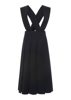 Miu Miu - Women's Racerback Pleated Wool Dress - Black - Moda Operandi