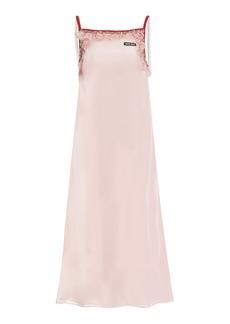 Miu Miu - Women's Ruffle-Trimmed Voile Slip Dress - Pink - Moda Operandi