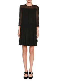 Miu Miu 3/4-Sleeve Sable Dress