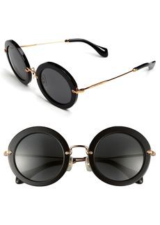 Miu Miu 49mm Round Retro Sunglasses