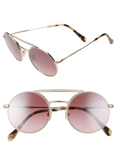 Miu Miu 50mm Round Crystal Embellished Aviator Sunglasses