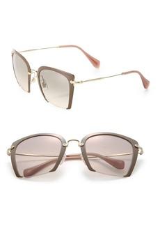 Miu Miu 52MM Semi-Rimless Acetate & Metal Square Sunglasses