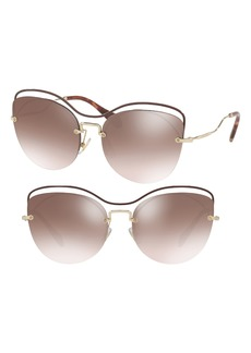 Miu Miu 60mm Mirrored Cat Eye Sunglasses