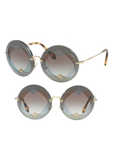 Miu Miu 62mm Layered Heart Round Sunglasses