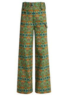 Miu Miu Agra-print wide-leg denim trousers