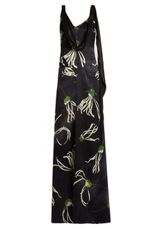 Miu Miu Anemone-print cowl-neck satin gown