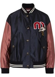 Miu Miu Appliquéd satin-shell bomber jacket