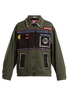 Miu Miu Bead and crystal-embellished cotton-blend jacket
