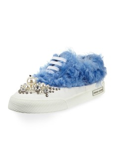 Miu Miu Beaded Faux-Fur Low-Top Sneaker