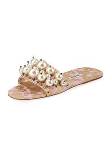 Miu Miu Beaded Jacquard Slide Sandal