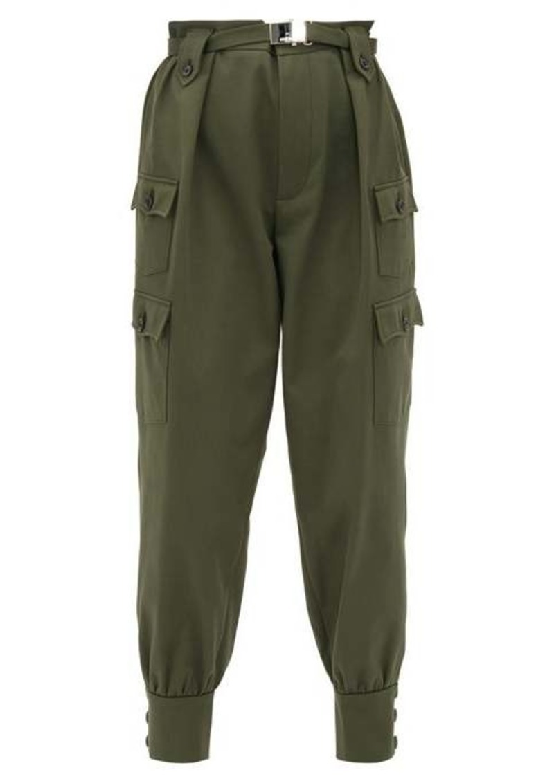Miu Miu Belted cotton-twill cargo trousers