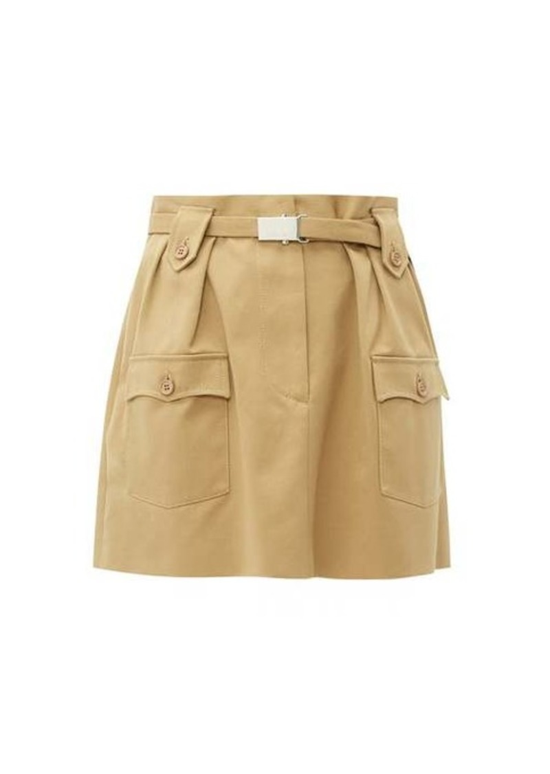 Miu Miu Belted cotton-twill mini skirt