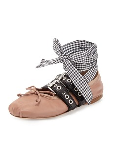 Miu Miu Belted Leather Ankle-Wrap Ballet Flats