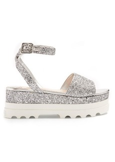 Miu Miu Bi-colour glitter flatform sandals