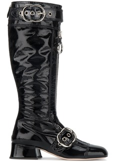 Miu Miu Black Patent Leather Zipper knee boots