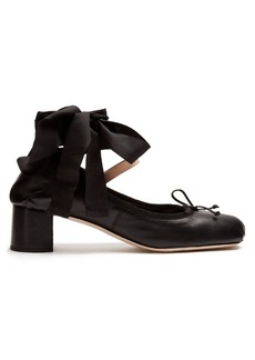 Miu Miu Block-heel leather ballet pumps